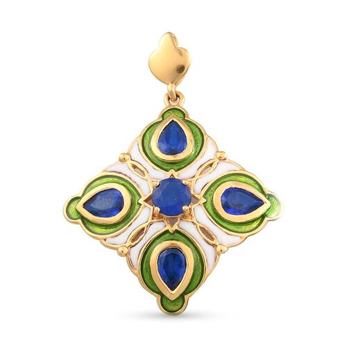 Tanzanian Blue Spinel Enamelled Pendant in 14K Gold Overlay Sterling Silver 2.39 Ct.
