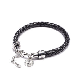 Braided Leather Bracelet (Size 8 with 2 inch Extender) with Charm in Silver Tone