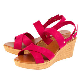 Lotus Angelica Wedge Sandals in Fuchsia