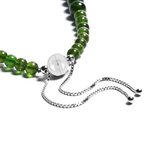 Russian Diopside Beaded Adjustable Necklace (Size 24 with Magnetic Lock) in Rhodium Overlay Sterling Silver 333.00 Ct.