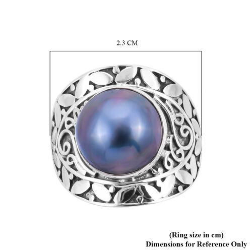 Royal Bali Collection - Blue Mabe Pearl Ring in Sterling Silver, Silver wt 5.89 Gms