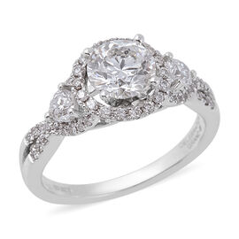 1.54 Ct Diamond Halo Ring in 14K White Gold 4.30 Grams I1 I2 GH