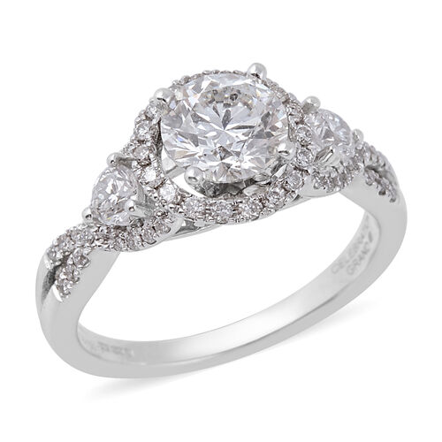 1.54 Ct Diamond Halo Ring in 14K White Gold 4.30 Grams I1 I2 GH