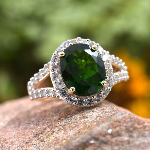 Extremely Rare Size (Ovl11x9) - 9K Yellow Gold Russian Diopside, Natural White Cambodian Zircon Ring 4.50 Ct.