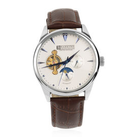 Barkers Of Kensington - Automatic Steel Watch with Brown Leather Strap- Gold and Blue