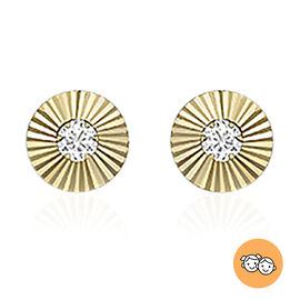 9K Yellow Gold, Simulated Diamond Disc-Shaped Stud Earrings (with Push Back)