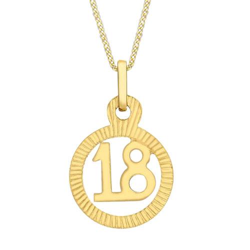 9K Yellow Gold 18 Circle Charm