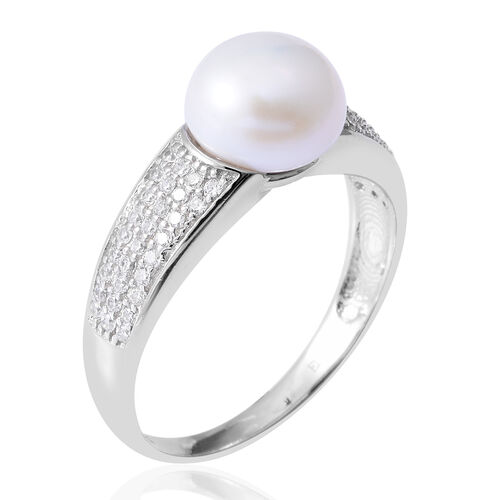 Fresh Water Pearl (Rnd), Simulated Diamond Ring in Rhodium Overlay Sterling Silver