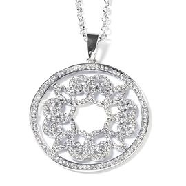 White Austrian Crystal (Rnd) Circle Pendant with Chain (Size 29 and 2 inch Extender) in Silver Tone
