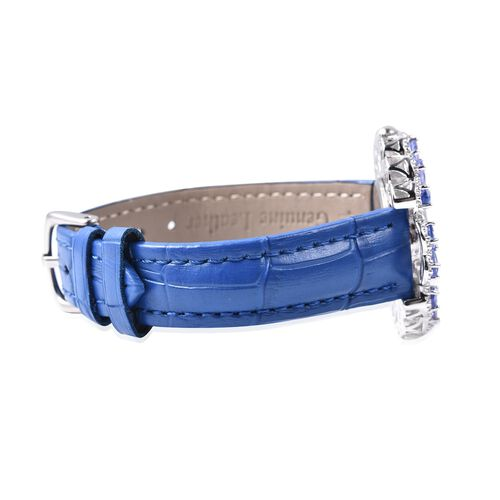 EON Swiss Movement Tanzanite (Pear 6x4 mm), Natural White Cambodian Zircon and Diamond Water Resistant Watch in Stainless Steel and Rhodium Overlay Sterling Silver 12.68 Ct. Silver Wt. 18.50 Gms