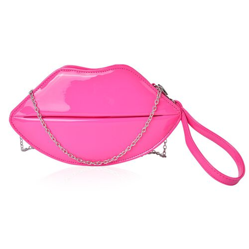 Fuchsia Colour Pout Crossbody Bag with Removable Chain Strap (Size 24.5X13.5X7 Cm)