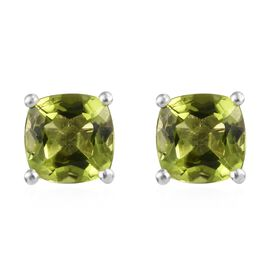 Hebei Peridot (Cush) Stud Earrings in Platinum Overlay Sterling Silver 3.00 Ct.