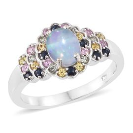 AAA Ethiopian Welo Opal (Ovl), Kanchanaburi Blue Sapphire, Orange Sapphire, Pink Sapphire and Green Sapphire Ring in Platinum Overlay Sterling Silver 1.250 Ct.