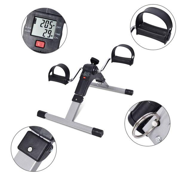 Folding Pedal Exerciser Mini Exercise Bike with Adjustable Tension Knob (Size 37x49.5x23.5 cm) - Black