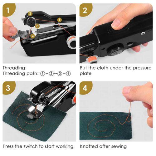 Portable Handy Sewing Machine (Size 21x7.2x4.7cm) - Black