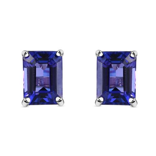 RHAPSODY 950 Platinum AAAA Tanzanite (Emerald Cut) Stud Earrings (with Screw Back) 2.25 Ct.