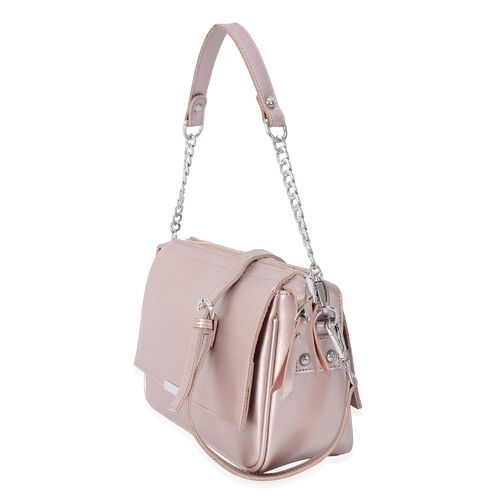 HONG KONG CLOSE OUT DEAL- 100% Genuine Leather Pink Metallic Colour Crossbody Bag with Removable Shoulder Strap (Size 24x10x18 Cm)