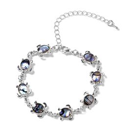 Abalone Shell (Ovl 9x7 mm) Sea Turtle Bracelet (Size 7.5 with 2.5 inch Extender) in Silver Tone