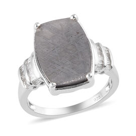Meteorite and Diamond Ring in Platinum Overlay Sterling Silver 13.16 Ct.