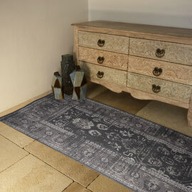 Premium Cotton Dark Grey Colour Rug (Size 240x80 Cm)