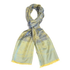 Golden, Blue and Multi Colour Tree and Bird Pattern Jacquard Scarf (Size 190x70 Cm)