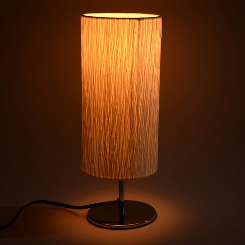 Round Shape Table Lamp  - Off White Colour (Size 50x15 Cm)