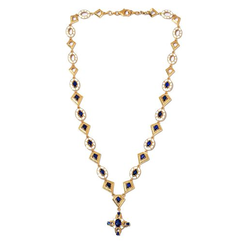 AA Tanzanian Blue Spinel Enamelled Necklace (Size 18) in 14K Gold Overlay Sterling Silver 5.50 Ct, Silver wt. 23.24 Gms