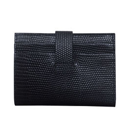 Assots London Grove Lizard Skin Texture 100% Genuine Leather RFID Cardholder (Size 8x10cm) - Black
