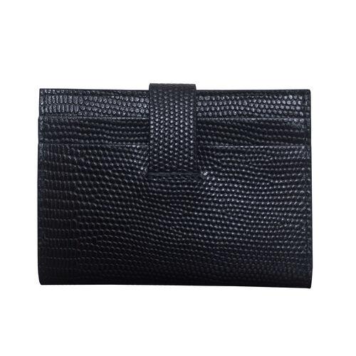 Assots London Grove Lizard Skin Texture 100% Genuine Leather RFID Cardholder (Size 8x10cm) - Black