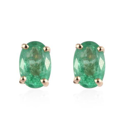 0.85 Ct Boyaca Colombian Emerald Solitaire Stud Earrings in 9K Gold