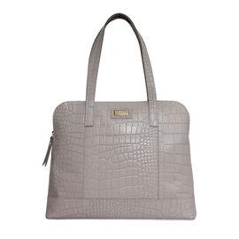 Assots London EVA 100% Genuine Leather Croc Embossed Handbag - Ice Grey