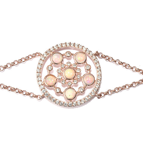 Ethiopian Welo Opal (Rnd), Natural Cambodian Zircon Bracelet (Size 7.5) in Rose Gold Overlay Sterling Silver 3.250 Ct.