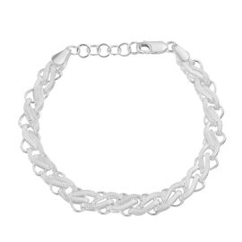 Artisan Crafted Braid Pattern Chain Bracelet in Sterling Silver Size 7 with 1 inch Extender 14.07 Gr