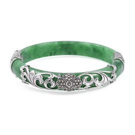 Carved Green Jade, Swiss Marcasite Bangle (Size 7.5) in Rhodium Overlay Sterling Silver 170.100 Ct, Silver wt 6.10 Gms.