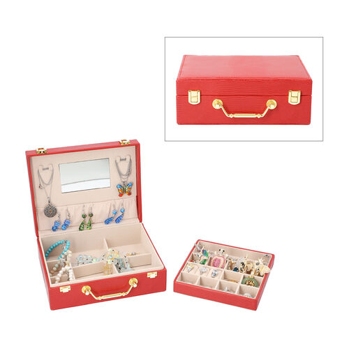 Grace Collection - Two Layer Lizard Skin Pattern Anti-Tarnish Jewellery Box with Inside Mirror and R
