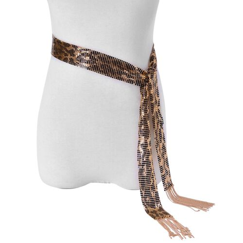 Scarf Style Necklace or Belt (Size 58 inch) in Yellow Gold and Black Tone