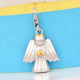 Platinum and Yellow Gold Overlay Sterling Silver Angel Charm