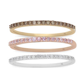 Set of 3 - 9K Yellow, Rose and White Gold Champagne, White and Pink Diamond Half Eternity Ring 0.75