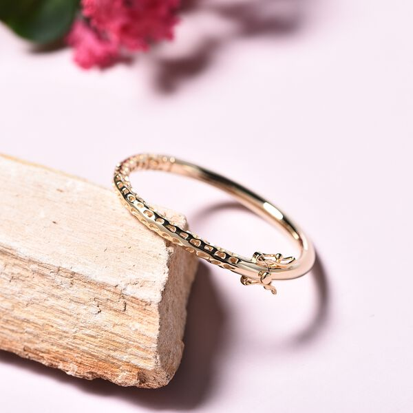 RACHEL GALLEY Yellow Gold Overlay Sterling Silver Allegro Kids Bangle (Size 4.95), Silver wt 11.95 Gms