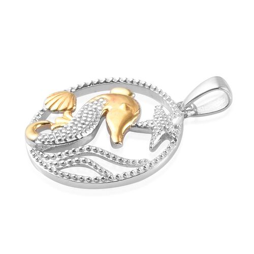 Platinum and Yellow Gold Overlay Sterling Silver Seahorse and Starfish Pendant