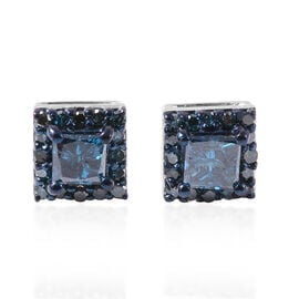 0.50 Ct Blue Diamond Stud Earrings with Push Back in 14K White Gold