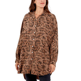 Nova of London 100% Viscose Zebra Pattern High Low Shirt Size 81x90Cm- Mocha