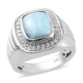 5.53 Ct Larimar and Zircon Halo Ring in Platinum Plated Sterling Silver