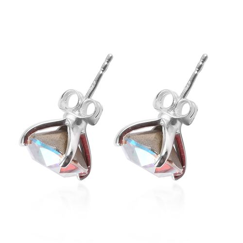 J Francis Crystal from Swarovski AB Crystal Solitaire Stud Earrings (with Push Back) in Sterling Silver