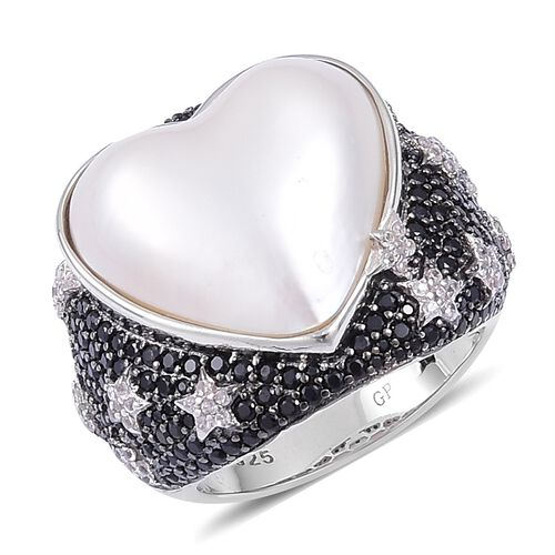 GP White Mabe Pearl, Boi Ploi Black Spinel, Natural White Cambodian Zircon and Madagascar Blue Sapphire Heart Ring in Black Rhodium Plated Sterling Silver 9.630 Ct. Silver wt 9.22 Gms.