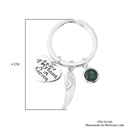 Charms De Memoire Sterling Silver Simulated Emerald, Angel Wing and Heart Charms in Key Chain