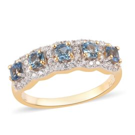Santamaria Aquamarine and Natural Cambodian Zircon Ring in 14K Gold Overlay Sterling Silver 1.27 Ct.