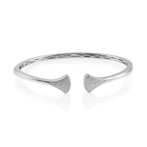 Diamond Cuff Bangle (Size 7.5) in Platinum Plated