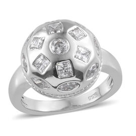 J Francis Made With SWAROVSKI ZIRCONIA Beaming Dome Ring in Platinum Plated Sterling Silver