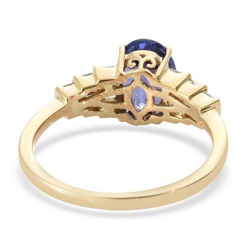 ILIANA 18K Yellow Gold AAA Tanzanite (Ovl 2.00 Ct), Diamond (SI/G-H) Ring 2.200 Ct.